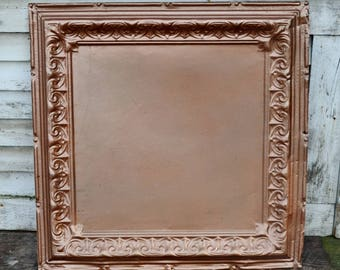 """Vintage Copper Ceiling Tile 24"""" Ornate Embossed Painted Metal Tin Architectural Salvage Repurpose Restoration Art Collage"""