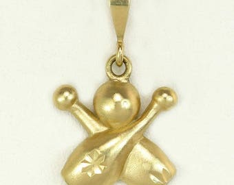 Estate 14K Yellow Gold Diamond Cut Bowling Pins & Ball Pendant Charm
