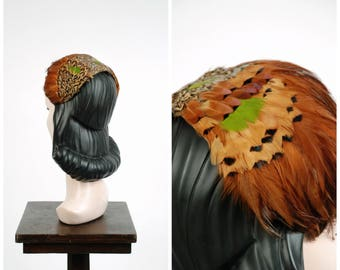 Vintage 1960s Hat - Gorgeous 60s Richly Feathered Headband with Pheasant and Rooster