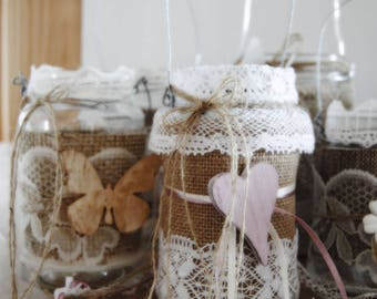 Country lanterns chic Lace and lace (5 assorted pieces)
