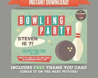 Vintage Bowling Birthday Party Printable Invitation with FREE Thank you Card - Editable PDF files - Print at home