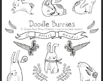 Doodly Cute Bunny Graphics, Digital Rabbits and Digital Bunnies, Hand Drawn Clipart, Instant Download, Spring Bunny Illustrations, Printable