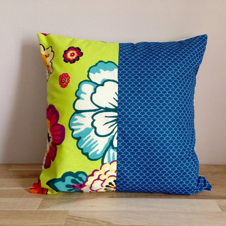 housse de coussin 40 x 40 fleurs et vagues vert anis et. Black Bedroom Furniture Sets. Home Design Ideas