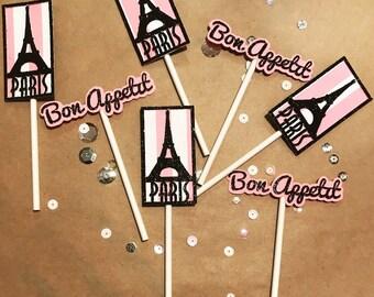 Eiffel Tower Cupcake Toppers/Dessert Toppers; Paris Birthday; Paris Bridal Shower; French Theme; Paris Cupcake Topper