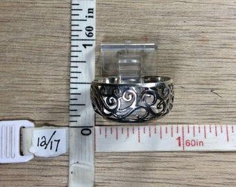 Vintage 925 Sterling Silver 2.7g Ring Size 9 Filigree Design Used