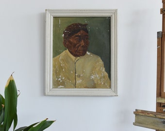 Vintage Early 20th Century Original Oil Painting Portrait of an Elderly Malaysian Man