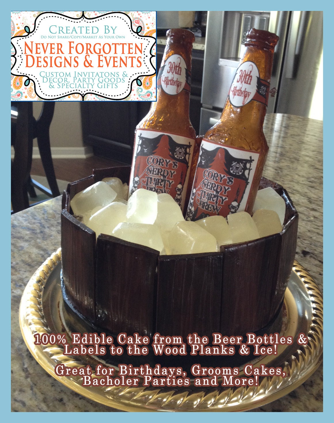 Beautiful EDIBLE LABELS Custom Beer Bottle Cake Labels for Chocolate or MD59