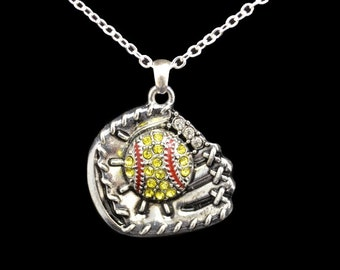 Softball in Glove Rhinestone Necklace