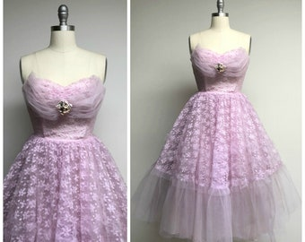 Vintage 1950s Dress • Lilac Gardens • Pale Purple Tulle Lace Strapless 50s Formal Party Dress Size Small