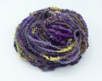 "Handspun Art Yarn, ""Purple Pansy"", 27 yards, corespun textured novelty yarn, bulky yarn, weaving yarn"