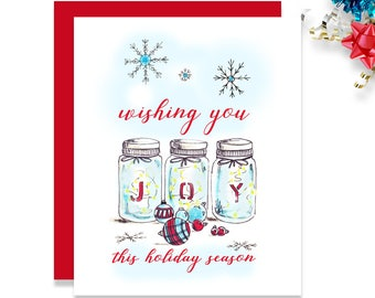 Christmas Card Friend- Holiday Card for Friends - Christmas Card - Illustrated Card