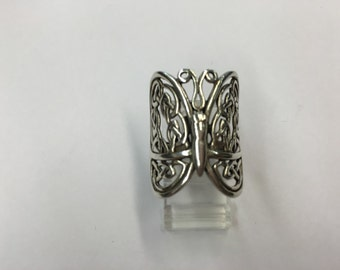 Sterling Silver Fancy Filagree Butterfly Ring Size 8