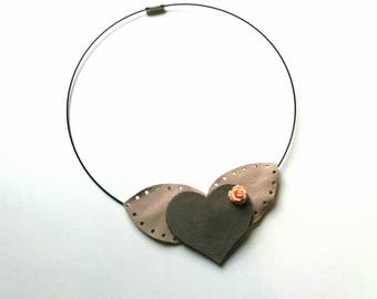 Chocker with Leather Heart and Leaves