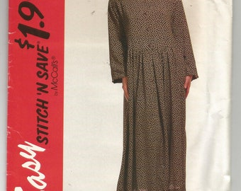 6647 McCalls Sewing Pattern Very Loose Fitting Dress UNCUT Size XS S M Factory Folded