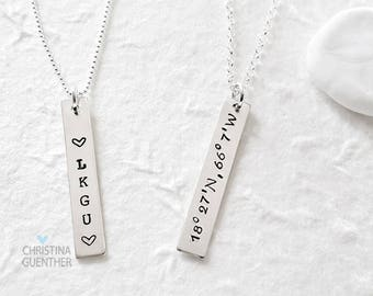 Personalized Vertical Bar Necklace | Sterling Silver Name | Delicate Layering | Hand Stamped Name Date Mantra GPS  Christina Guenther