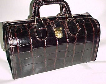 Authentic Doctor's Medical Bag-Rich Faux Crocodile Leather-Upjohn