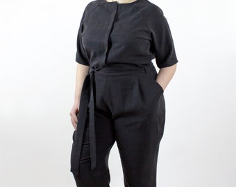 London Jumpsuit, Long Sleeve Black tencel womens jumpsuit, spring fashion, made in canada