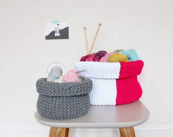 Jersey Storage Basket Knitting Pattern PDF, Small Large
