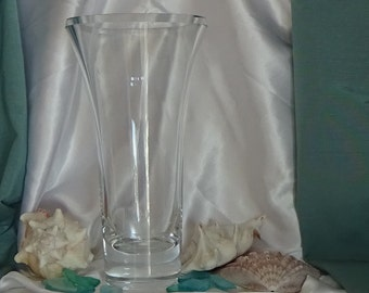 Tall European Heavy Crystal Trillion Trumpet Vase, Wedding Gift, Anniversary Gift, Gift for Her, Tall Crystal Wedding Centerpiece Vase
