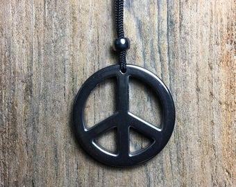 Hematite PEACE Pendant