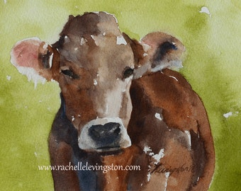 PRINT of  cow painting cow PRINT wall hanging cow wall art country rustic art nursery  PRINT from original painting watercolor painting
