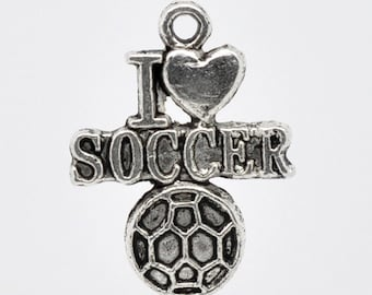 "5 Pieces Antique Silver ""I Love Soccer"" Charms"