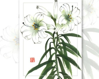 "Watercolor Chinese Brush Painting Cards  "" White Lillies"""