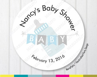 Baby Shower Stickers, Thank You Baby Bottle Stickers, Thank You Labels, PRINTED round Stickers, tags, Labels or Envelope Seals A1266