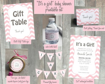Printable baby shower It's a Girl Set | Chevron pink and white decoration party pack | Invitation | Gift Table sign | Cupcake topper | PDF
