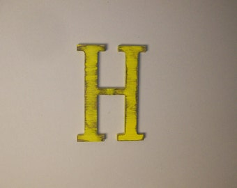 Hanging Wood Letter H 12-inch Wall Letter Distressed Initial Choice of Letter and Color!