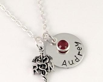 Personalized Nurse necklace, Custom Nurse Charm Necklace, Nurse's Day, RN Necklace, Nurse Necklace, health educator, Personalized Charm
