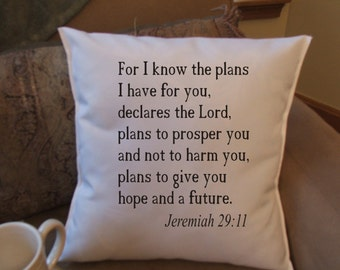 bible verse throw pillow cover, decorative throw pillow cover, Jeremiah 29:11