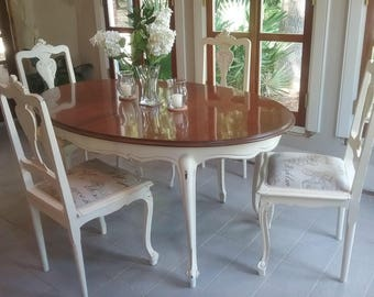 Beautiful, Shabby Chic Vintage Oval Dining Set; Dining Table With 4  Matching Chairs