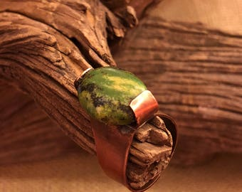Green Turquoise with Copper Statement Ring