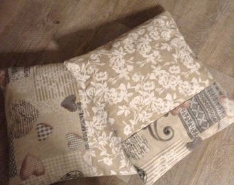 Pillowcover voor pillow 40cm square print matching beige white