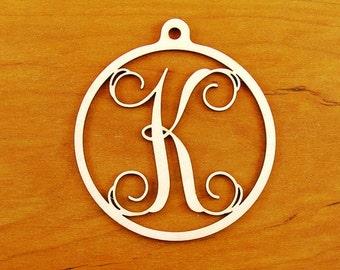"Letter Monogram Ornament 4"" Gold Mirror"