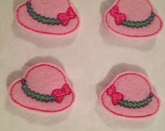 Adorable Mini Pink Felt Hat Applique-Set of 4