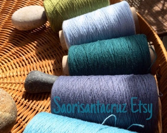 "Organic 8/2  cotton and Cottonlin weaving yarn 5 cone set ""Calico Flowers"" : saorisantacruz"