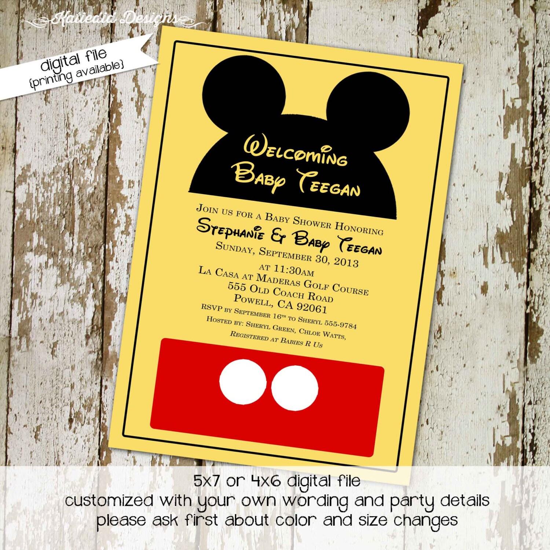 Disney baby shower invitation Mickey mouse birthday invitation ...
