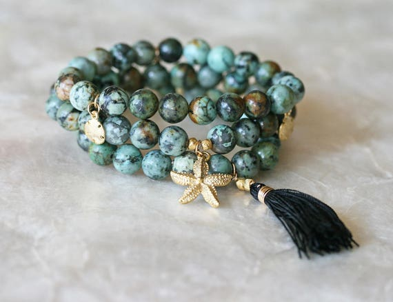 Green Bracelet Set with Gold Charms and Black Silk Tassel, Star Fish Charm