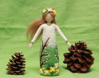 Needle felted Spring Fairy doll, Waldorf Fairy doll, wool fairy doll, Easter decoration