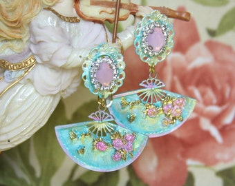 Victorian Mary Antoinette Style Hand  Painted Fan Studs Earrings