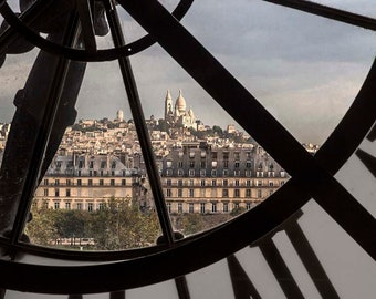 Paris Photography Orsay Museum, or Musee d'Orsay one can look out through the clock and see Sacre Coeur on Montmartre fine art print