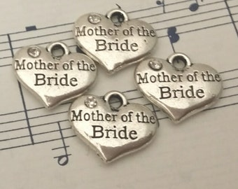 Heart Charms - 4 pcs. - Mother of the Bride Charm - Antique Silver Charm - Frame Heart Charms - One Sided Charms - Charms - Silver Charms