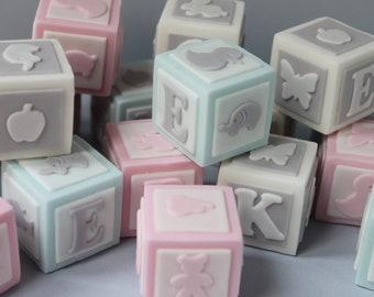 Baby letters blocks alphabet sugar fondant gumpaste letters baby shower cake topper lettering
