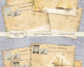 75% OFF SALE Summer Journey Digital Collage Sheet, Printable Download Sheet, Digital Cards C083, Altered Art, Atc Aceo Jpeg printable image