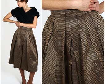 Vintage 1950s Metallic Bronze & Black Striped Fit and Flare Party Skirt by Georgia Kay | Small