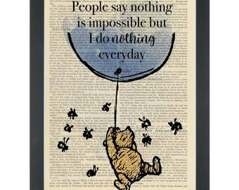 Winnie pooh quote Nothing is impossible Dictionary Art Print