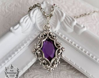 Silver ornate victorian gothic necklace-victorian gothic pendant-necklace with amethyst gem