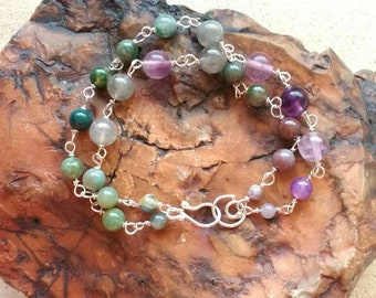 Sterling silver- stones bracelet - Purple-Green stones bracelet - nature jewelry - birthday gift, ready-to-ship.